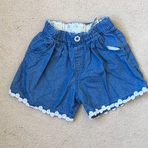 Girls Bit'z Kids Chambray Lace Trim Shorts 4-5
